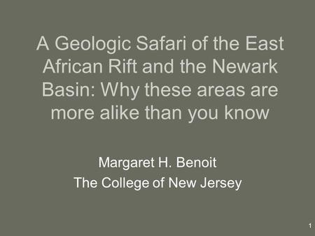 Margaret H. Benoit The College of New Jersey