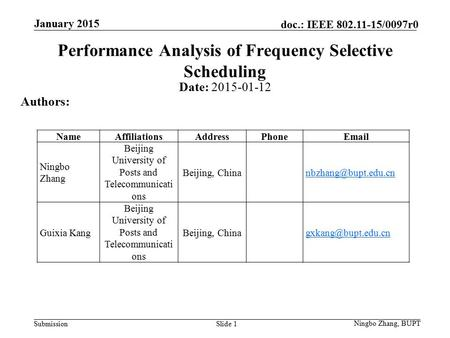 Submission doc.: IEEE 802.11-15/0097r0 Slide 1 Performance Analysis of Frequency Selective Scheduling Date: 2015-01-12 Authors: Ningbo Zhang, BUPT January.