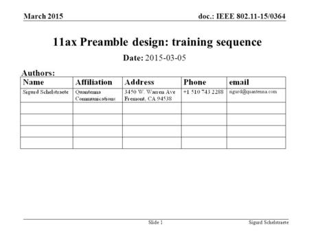 Doc.: IEEE 802.11-15/0364 March 2015 Sigurd SchelstraeteSlide 1 11ax Preamble design: training sequence Date: 2015-03-05 Authors: