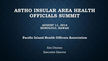 Pacific Island Health Officers Association