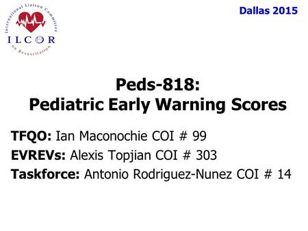 Peds-818: Pediatric Early Warning Scores