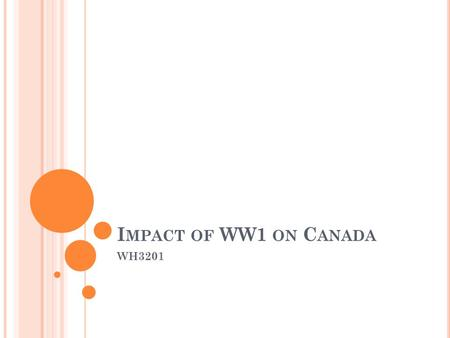 I MPACT OF WW1 ON C ANADA WH3201. 3 M AIN F ORMS Social Economic Political.