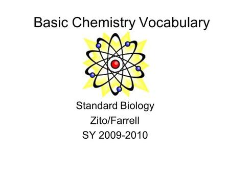 Basic Chemistry Vocabulary Standard Biology Zito/Farrell SY 2009-2010.
