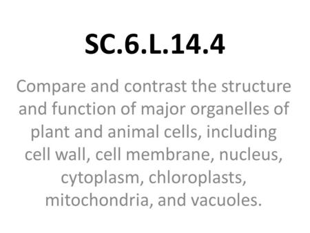 SC.6.L.14.4 Compare and contrast the structure and function of major organelles of plant and animal cells, including cell wall, cell membrane, nucleus,