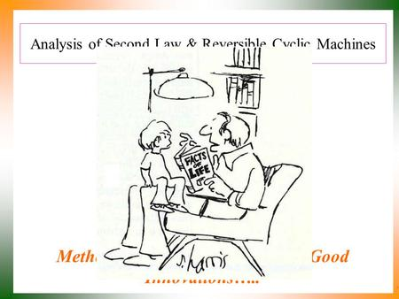 Analysis of Second Law & Reversible Cyclic Machines P M V Subbarao Professor Mechanical Engineering Department Methods to Recognize Practicable Good Innovations…..