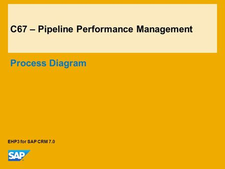 C67 – Pipeline Performance Management Process Diagram EHP3 for SAP CRM 7.0.