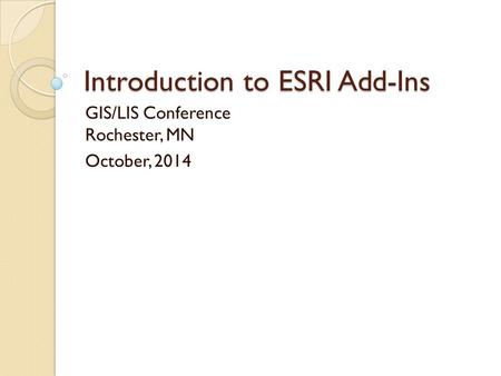 Introduction to ESRI Add-Ins
