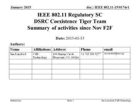 Doc.: IEEE 802.11-15/0174r1 Submission January 2015 Jim Lansford, CSR TechnologySlide 1 IEEE 802.11 Regulatory SC DSRC Coexistence Tiger Team Summary of.