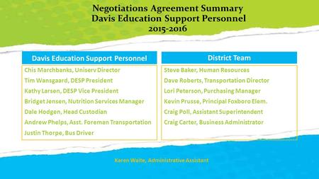 Negotiations Agreement Summary Davis Education Support Personnel 2015-2016 Davis Education Support Personnel Chis Marchbanks, Uniserv Director Tim Wansgaard,