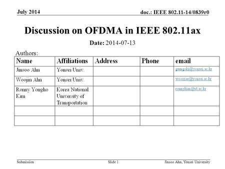 Submission doc.: IEEE 802.11-14/0839r0 Discussion on OFDMA in IEEE 802.11ax Slide 1 July 2014 Jinsoo Ahn, Yonsei University Date: 2014-07-13 Authors: