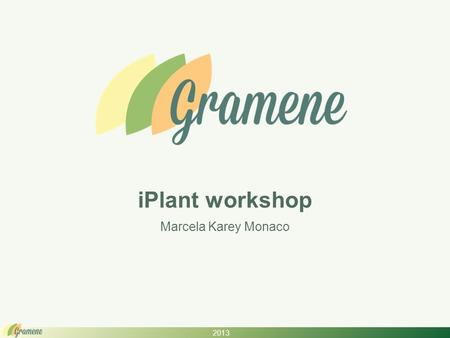 2013 iPlant workshop Marcela Karey Monaco. 2013 What is Gramene? An integrated plant reference genome resource Comparative genomics hub of data & tools.