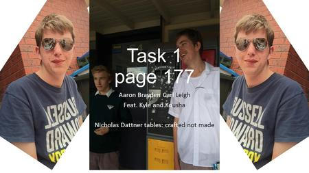 Task 1 page 177 Aaron Brayden Carl Leigh Feat. Kyle and Kousha Nicholas Dattner tables: crafted not made.