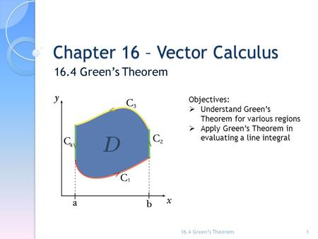 Chapter 16 – Vector Calculus 16.4 Green's Theorem 1 Objectives:  Understand Green's Theorem for various regions  Apply Green's Theorem in evaluating.