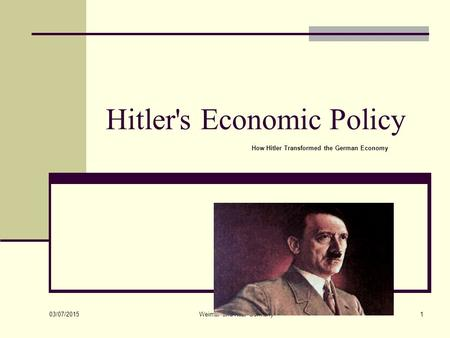 Hitler's Economic Policy