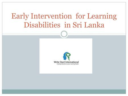 Early Intervention for Learning Disabilities in Sri Lanka