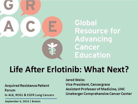 Acquired Resistance Patient Forum September 6, 2014 | Boston In ALK, ROS1 & EGFR Lung Cancers Life After Erlotinib: What Next? Jared Weiss Vice President,