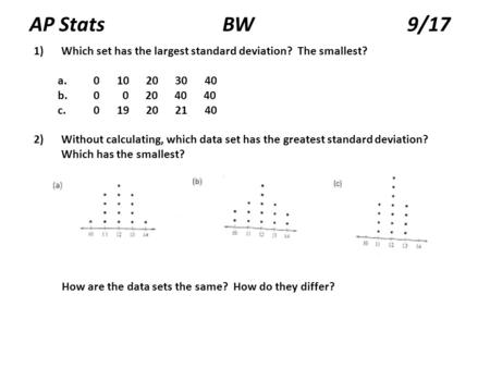 AP Stats BW 9/17 1)Which set has the largest standard deviation? The smallest? a. 0 10 20 30 40 b. 0 0 20 40 40 c. 0 19 20 21 40 2)Without calculating,