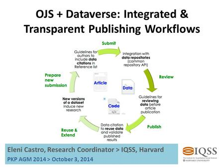OJS + Dataverse: Integrated & Transparent Publishing Workflows