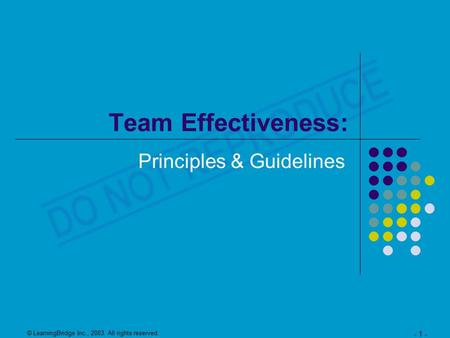 © LearningBridge Inc., 2003. All rights reserved. - 1 - Team Effectiveness: Principles & Guidelines.