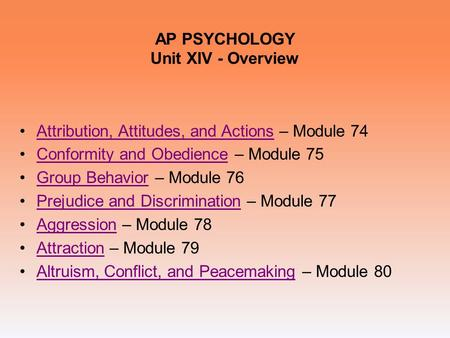 AP PSYCHOLOGY Unit XIV - Overview Attribution, Attitudes, and Actions – Module 74Attribution, Attitudes, and Actions Conformity and Obedience – Module.
