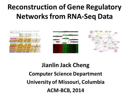 Reconstruction of Gene Regulatory Networks from RNA-Seq Data Jianlin Jack Cheng Computer Science Department University of Missouri, Columbia ACM-BCB, 2014.