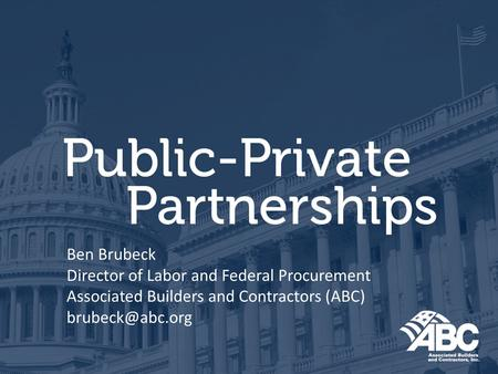 Ben Brubeck Director of Labor and Federal Procurement