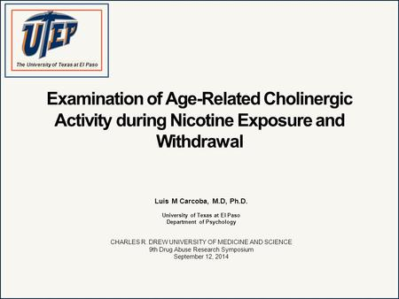 Examination of Age-Related Cholinergic Activity during Nicotine Exposure and Withdrawal Luis M Carcoba, M.D, Ph.D. University of Texas at El Paso Department.