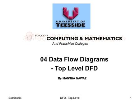 Section 04DFD - Top Level1 04 Data Flow Diagrams - Top Level DFD And Franchise Colleges By MANSHA NAWAZ.
