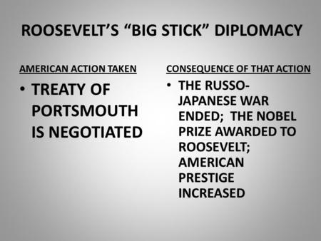 "ROOSEVELT'S ""BIG STICK"" DIPLOMACY AMERICAN ACTION TAKEN TREATY OF PORTSMOUTH IS NEGOTIATED CONSEQUENCE OF THAT ACTION THE RUSSO- JAPANESE WAR ENDED; THE."