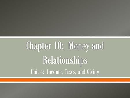 Chapter 10: Money and Relationships