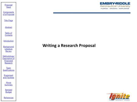 Writing a Research Proposal. Need of Proposal Term Paper, Capstone Project, Thesis, etc. External or Internal Funding Solicited Unsolicited Others.