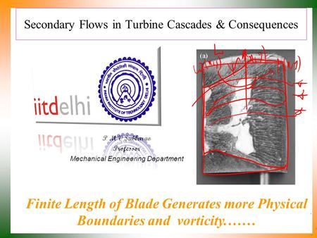 Secondary Flows in Turbine Cascades & Consequences P M V Subbarao Professor Mechanical Engineering Department Finite Length of Blade Generates more Physical.