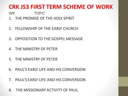CRK JS3 FIRST TERM SCHEME OF WORK