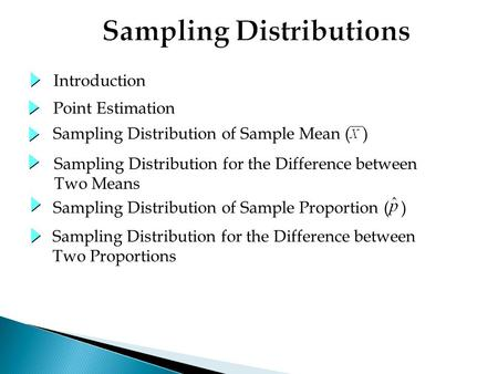 Sampling Distribution of Sample Mean ( ) Point Estimation Introduction Sampling Distribution of Sample Proportion ( ) Sampling Distribution for the Difference.