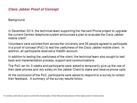 Cisco Jabber Proof of Concept