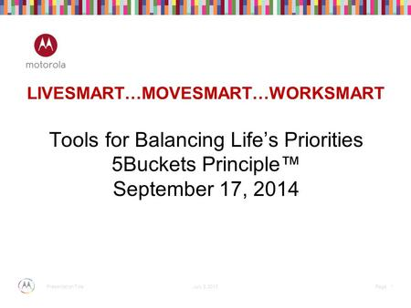 July 3, 2013 * Page Presentation Title LIVESMART…MOVESMART…WORKSMART Tools for Balancing Life's Priorities 5Buckets Principle™ September 17, 2014.