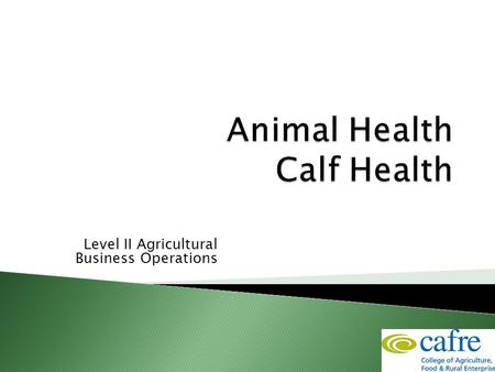 Level II Agricultural Business Operations.  This session will include ◦ Sources & signs of infection and sickness ◦ Colostrum feeding ◦ Calf diseases.
