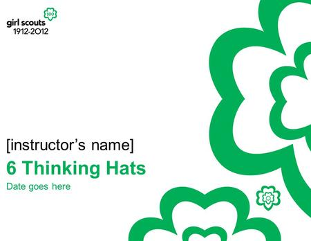 6 Thinking Hats [instructor's name] Date goes here.