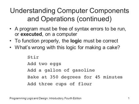 Programming Logic and Design, Introductory, Fourth Edition1 Understanding Computer Components and Operations (continued) A program must be free of syntax.