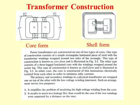 Core form Shell form Transformer Construction. Core is made up of laminations to reduce the eddy current losses. The thickness of laminations is usually.
