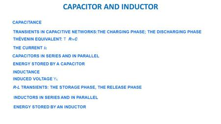 CAPACITOR AND INDUCTOR