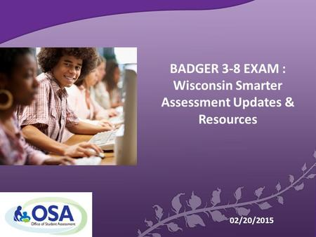 BADGER 3-8 EXAM : Wisconsin Smarter Assessment Updates & Resources 02/20/2015.
