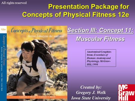 Concepts of Physical Fitness 12e Presentation Package for Concepts of Physical Fitness 12e Section III: Concept 11: Muscular Fitness All rights reserved.
