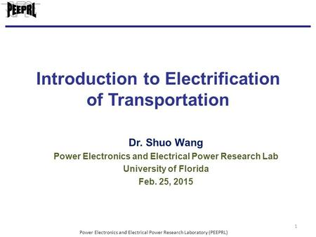 Introduction to Electrification of Transportation