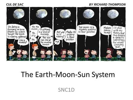 The Earth-Moon-Sun System SNC1D. The motion of the Moon The Moon revolves around the Earth in a nearly circular orbit.