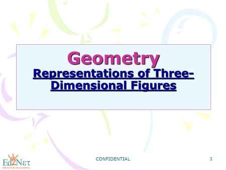 CONFIDENTIAL 1 Geometry Representations of Three- Dimensional Figures Geometry Representations of Three- Dimensional Figures.