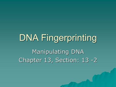 Manipulating DNA Chapter 13, Section: 13 -2