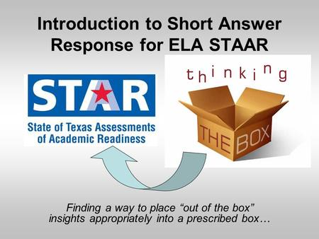 Introduction to Short Answer Response for ELA STAAR