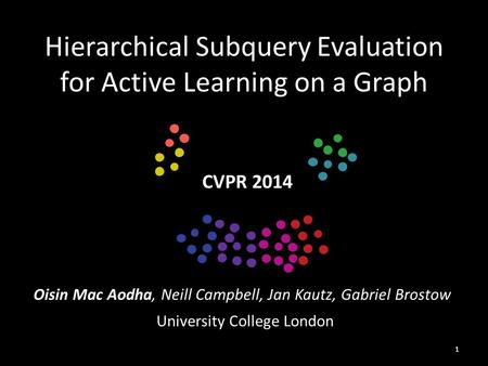 Hierarchical Subquery Evaluation for Active Learning on a Graph Oisin Mac Aodha, Neill Campbell, Jan Kautz, Gabriel Brostow CVPR 2014 University College.