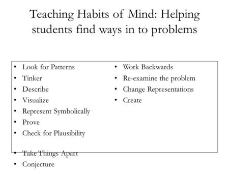 Teaching Habits of Mind: Helping students find ways in to problems Look for Patterns Tinker Describe Visualize Represent Symbolically Prove Check for Plausibility.